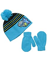 Disney Baby Boys' Monsters University Beanie with Pom and Mitten Set, Multi, One Size