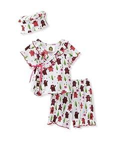 Barn Organics Baby Girl's Kimono Set with Hat (Lil Honeybear)