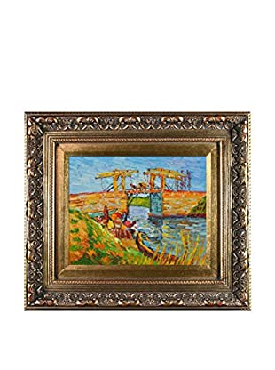 Vincent Van Gogh's Langlois Bridge at Arles Framed Hand Painted Oil On Canvas, Multi, 14.5