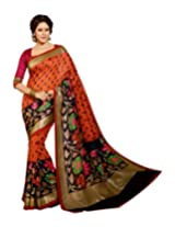 Brijraj Orange Black Bhagalpuri Silk Beautifull Printed Saree With Unstitch Blouse