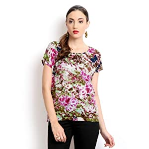 ONLY Women Green & Pink Printed Top