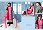 Cotton Embroidered Pink Unstitched Straight Suit - 27588