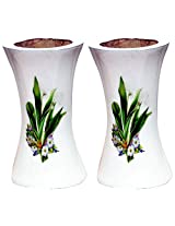 Unique Art Emporium Wooden Flower Vase (8 cm x 8 cm x 15 cm, White, Set of 2, UAFP031)