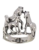 SILBERUH Unisex Sterling Silver Horse Ring