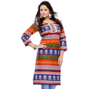 Off White, Blue and Red Cotton Readymade Kurti
