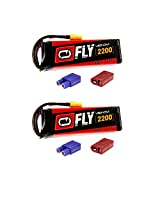Venom Fly 50 C 3 S 2200m Ah 11.1 V Li Po Battery With Universal 2.0 Plug (Xt60/Deans/Ec3) For Rc Airplane & Helicopter X2 Packs