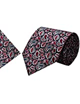 Navaksha Black Micro Fiber Tie with Pocket Square
