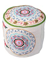 Decorative Ottoman White Cotton Floral Embroidered Pouf Cover By Rajrang