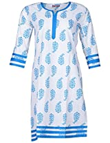 Bunkaari India Women's Cotton Regular Fit Kurti (00LK 7_40, White and sky blue, 40)