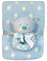Stephan Baby Super Soft Coral Fleece Polka Dot Crib Blanket and Plush Ring Rattle Gift Set, Blue Bear