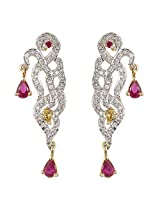 Be You Graceful Red Colour Diamond Look Rhodium Plated Silver Dangle Earring for Women