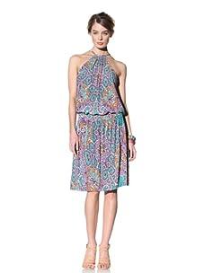 Donna Morgan Women's Pleated Halter Dress (Aqua Purple)