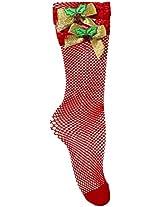 Forum Novelties Women's Red Fishnet Socks with Mistletoe