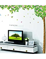 UberLyfe Tree with Pink Flowers Wall Sticker for Living Room - XL
