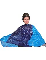 Exotic India Blue and Purple Bandhani Tie-Dye Dupatta from Gujarat - Blue