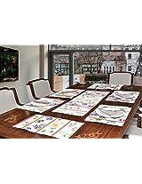 "Avira Home Floral Lines Table Mats & Table Runner Set- 6 Mats (13""x19"") & 1 Runner (13""x39""), Machine Washable"
