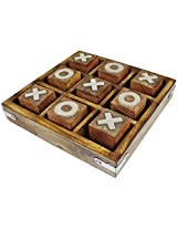Tic Tac Toe Game Wooden Toy and Game - Noughts and Crosses Game - Travel Game Board Det -5 x 5 x 1 Inches