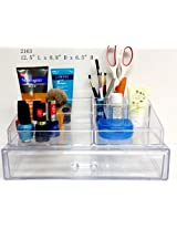 Beauty Acrylic Luxury Clear Case Acrylic Cosmetic Jewelry Organizer with 1 Large Drawer 9 Compartments