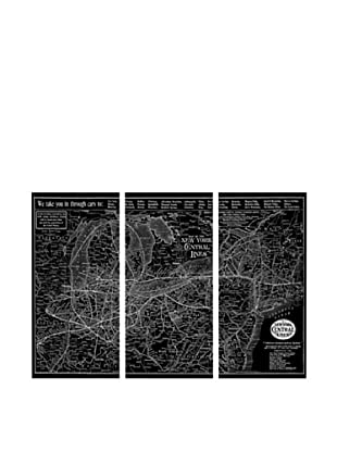 Oliver Gal New York Central Lines Map 1918 Triptych Canvas Art