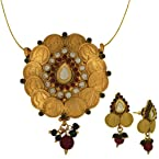 Spargz Antique Coin Temple Pendant Earring Set AIPS 020