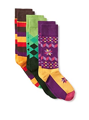 Happy Socks Women's Multi Socks (3 Pairs) (Brown/Green/Purple)