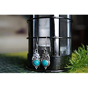 Gajgauri Silver Earring With Turquoise Stone.
