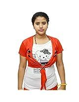 Odishabazaar Women's Cotton Printed White Red T-shirt S
