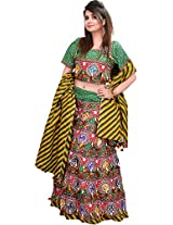 Exotic India Multi-Colored Printed Lehenga Choli from Kutch with - Multicolored