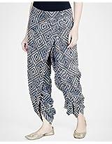 Cotton Printed Kalamkari Low Crotch Harem Pant-xs-indigo