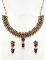 Elegant Polki Work Necklace Set Carved With Stone And Beads