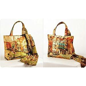 Shopping World Faux Silk With Shiffon Stole Hand Bag - Venice