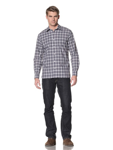 Hickey Freeman Men's Plaid Button-Up Shirt (Navy)