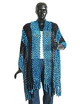 DollsofIndia Dark Blue and Black Fancy Silk Thread Stole - Silk Thread - Blue, Black