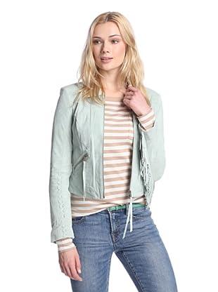 Sam Edelman Women's Luella Fringe Suede Jacket (Mint)