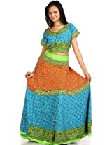 Exotic India Tri-color Two-Piece Ghagra Choli from Kutch with All-Ov - Tri-color