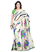 Admyrin White Georgette Printed Saree with Green Blouse