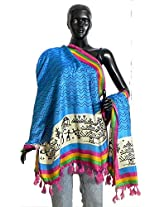 DollsofIndia Black Wavy Design on Blue Bhagalpuri Silk Chunni with Tribal Design and Multicolor Border Border - Silk Tussar - Blue, Multicolor