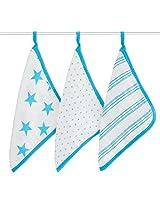 aden + anais Classic Washcloth, Fluro Blue, 3 Pack