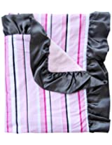 Caden Lane Luxe Collection Pinstripe Ruffle Blanket, Girl
