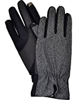 Isotoner Women's Smartouch Gloves - Fleece Lined Black- Metallic (X Small)