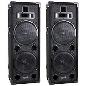 Two VM Audio 4-Way Dual 10 DJ Loud Speakers