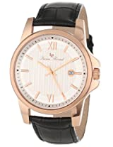 Lucien Piccard Men's 10048-RG-02S Breithorn Silver Textured Dial Black Leather Watch