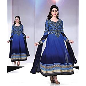 Semi Stitched Blue Neck Embroidered Designer Anarkali Suit