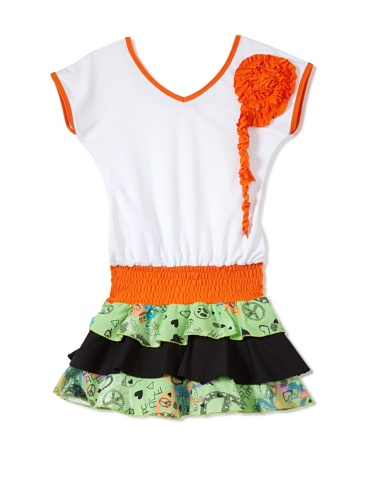 Nifunifa Girl's Florencia Dress (Flower/Orange)
