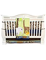 One Grace Place Jazzie Jungle Boy Infant Crib Bedding, Light Blue/Navy Blue, 4 Piece
