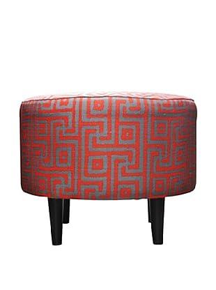 Sole Designs Sophia Atomic Round Ottoman, Red