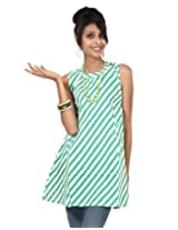 Rajrang Womens Cotton Tunic ,Green And White ,Medium