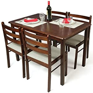 Fab Home Carolina Dining Table with Four Chairs