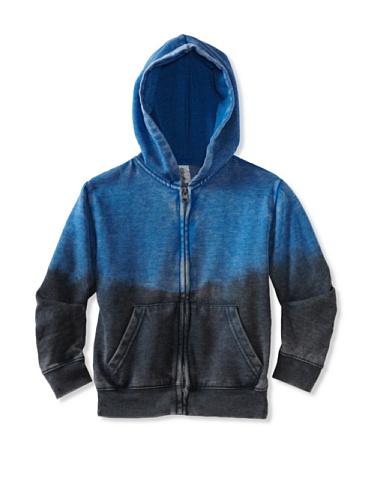 Colorfast Apparel Boy's Burnout/Dip Dye Zip Hoodie (Blue/Navy)
