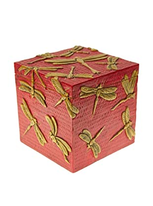 The Niger Bend Large Soapstone Cube Box with Dragonfly Design